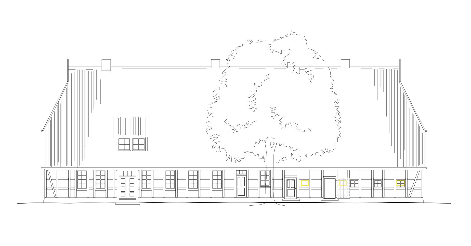 Bauzeichnung von pablo baugestaltung zeigt die Seitenansicht des Bauernhauses Juergenstorf