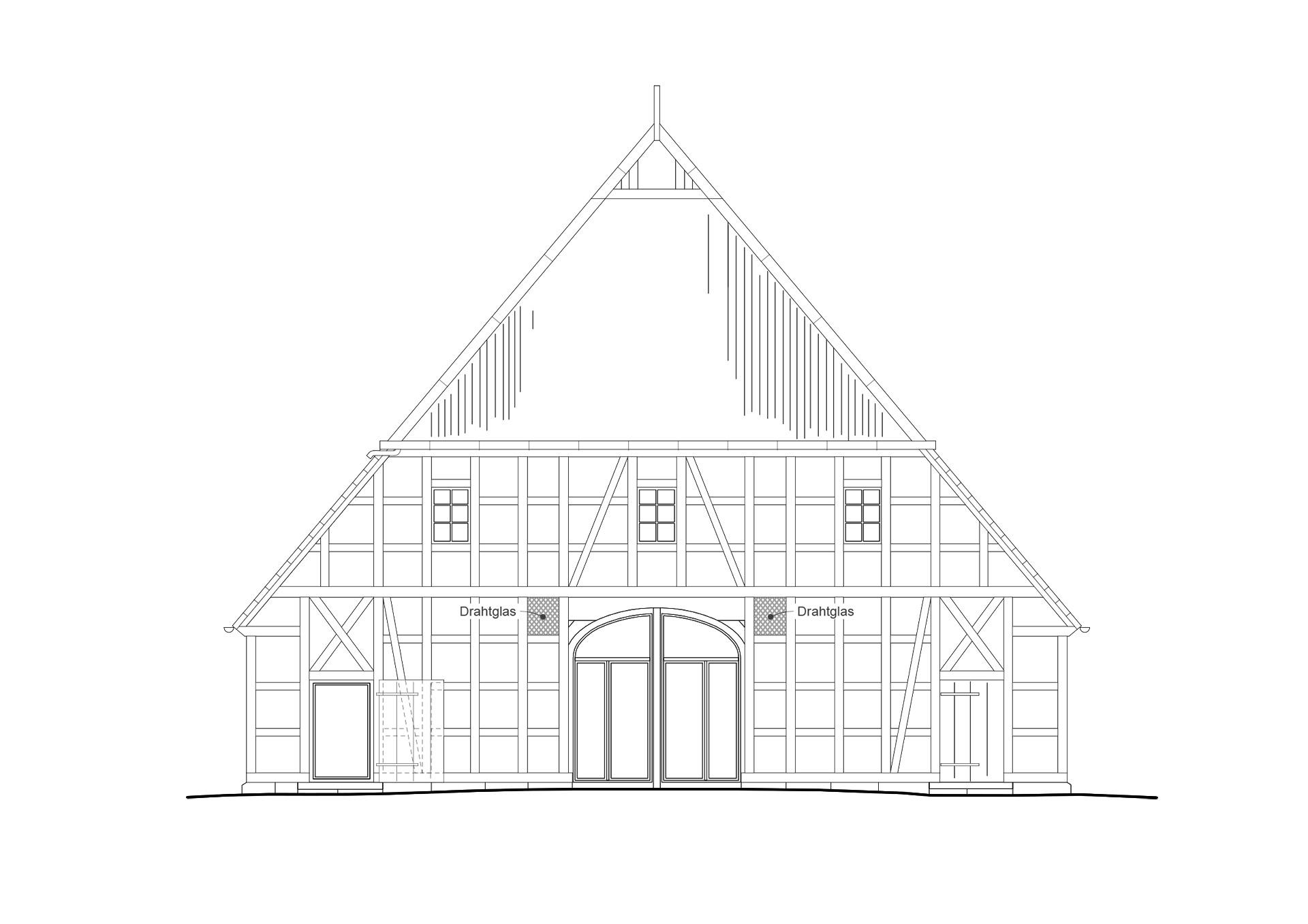 Bild von pablo baugestaltung zeigt die Vorderansicht des Bauernhauses Juergenstorf