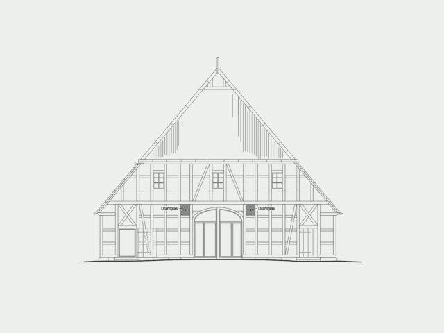 Foto Bauplan Bauernhaus Juergenstorf von Ryan Baugestaltung Hamburg zeigt das Fachwerkhaus von Vorne